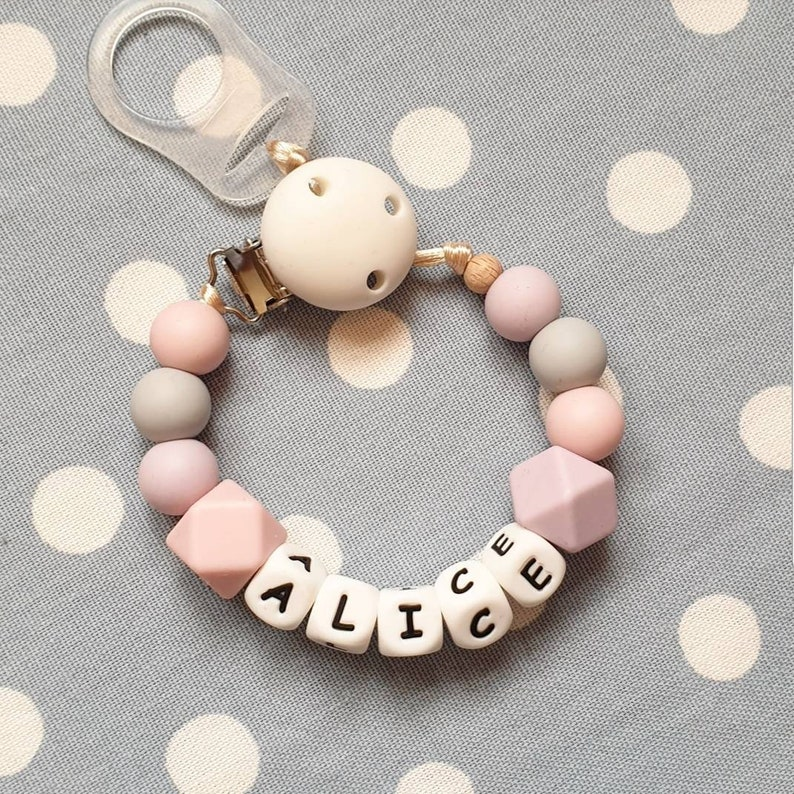 not personalised Unisex silicone and wooden dummy clip*pacifier*holder