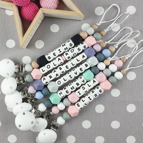 Personalised Baby Dummy Soother Silicone Clip Holder Shower Christening Gift