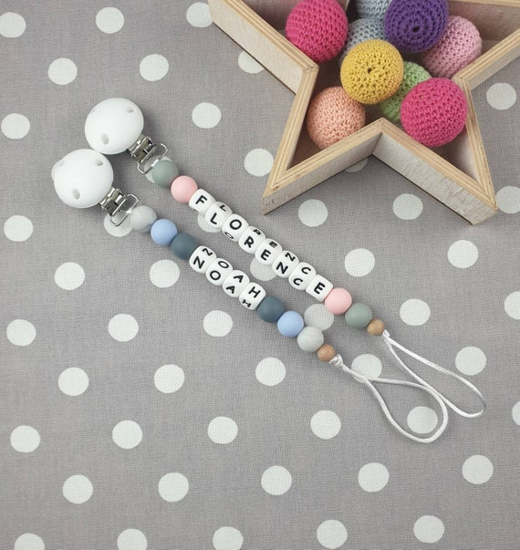 Full Silicone Range Personalised Dummy Clip Baby Pastel Colours Christening Gift