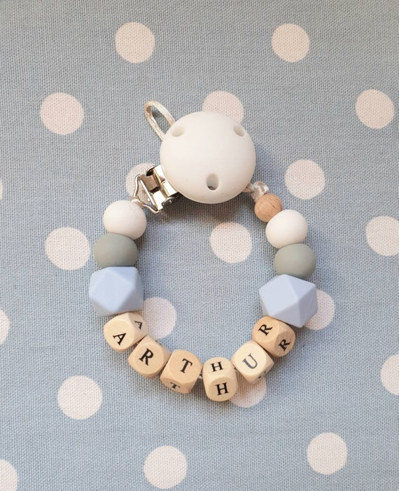 Christening Gift //Free MAM Adapter Personalised Baby Dummy Wooden Clip Shower