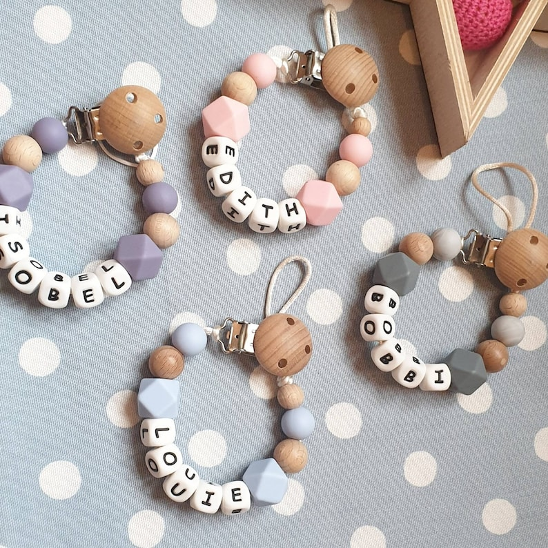 100/% Full Silicone Personalised Dummy Clip Baby Blue Grey White Christening Gift
