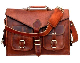 aae332ca09 Vintage Handmade Leather Messenger Bag for Laptop Briefcase Best Computer  Satchel School distressed Bag