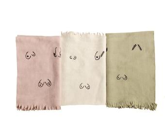 Boob Equality Tea Towels/ Hand Towels, breast cancer, body positive, breast feeding mom, feminist, female empowerment, organic cotton, love