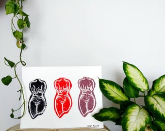 Hand painted 'Femme Tones' Minimal, Body Positivity, Female Empowerment, Earthy Tones, Naked, Female Curves, Natural, Boobs, eco-friendly