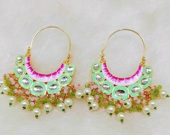 Lowest Prices and Best Quality 50/% SaleIndian  Earrings kundan earrings jewellery jhumka meenakari Designer jewellery