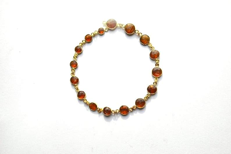 Extra fine Beautiful Natural Gold Plated Orange Kyanites CONNECTOR BEZEL Chain Round Coin faceted beads 6-9 MM1 feet Long Lowest Prices and