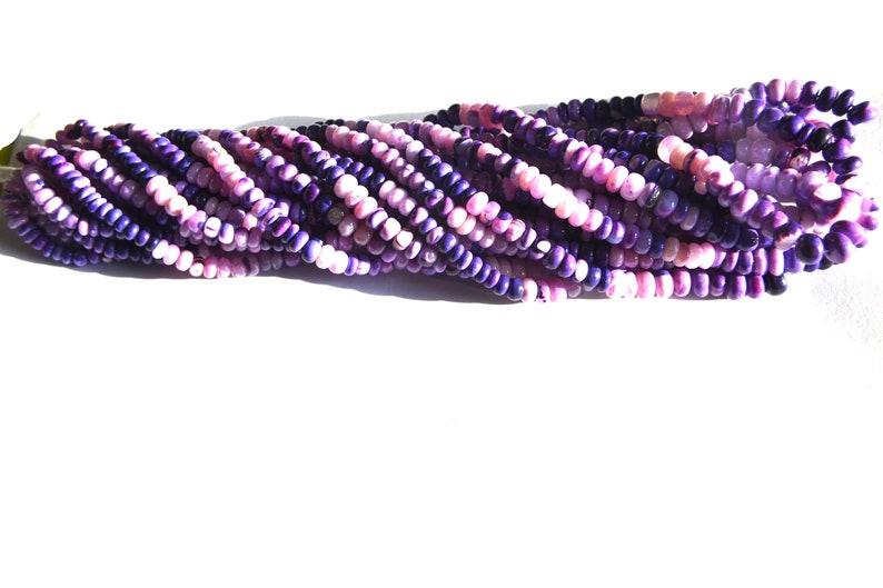 High Quality Beautiful Natural Genuine Purple Opal Shaded Roundel Smooth Beads 1 stand 4-6 mm 13-18 inch Long Lowest Wholesale  Prices