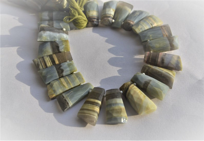 100/% Beautiful Natural Sea Green Opal Seven 7 Shape Fancy Faceted beads 10-20mm Approx size 8 inch 1 Strand  Lowest Prices and Best Jewelry
