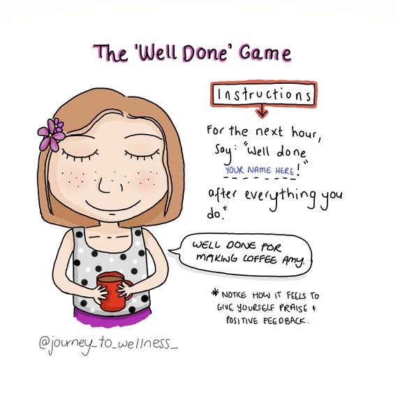 The Well Done Game Journey To Wellness Cartoon Digital Etsy