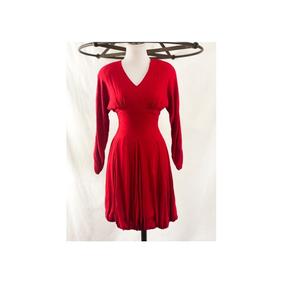 1980's Red Batwing Sleeve Dress by Nicole Miller