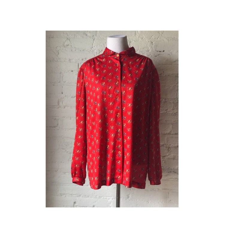 1970/'s Vintage Floral Button Down Blouse By Lady Devon