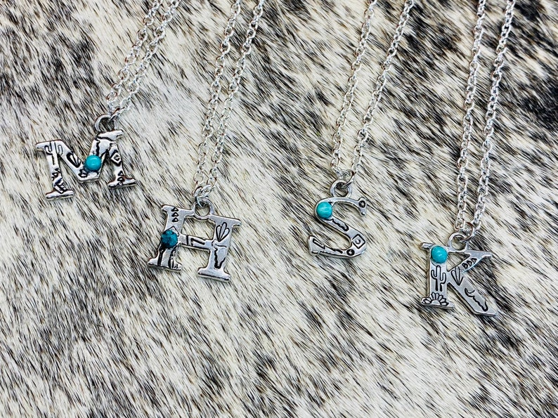Cowgirl Western Gift Boho Turquoise Silver Initial Stamped Necklace Christmas Birthday Country Gypsy Cowboy Hippie Southern