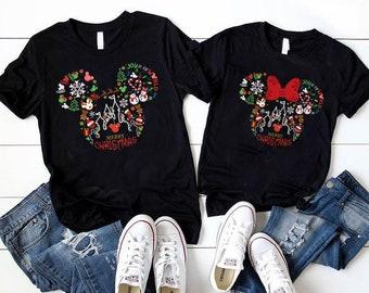 Mickey & Minnie Head Shirt, Christmas Disney Couple Sweatshirt, Christmas Gift, Snowmen, Snowflake, Santa Hat, Reindeer, Disney Castle