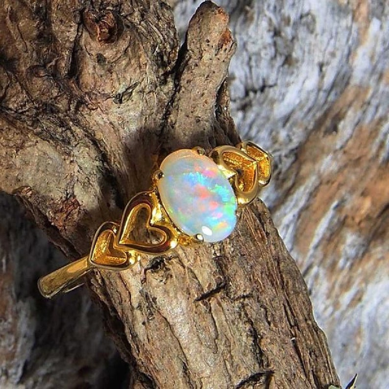 Natural ethiopian opal 925 sterling silver ring engagement solitaire ring,mothers day gift,anniversary ring,promise ring,valentine ring