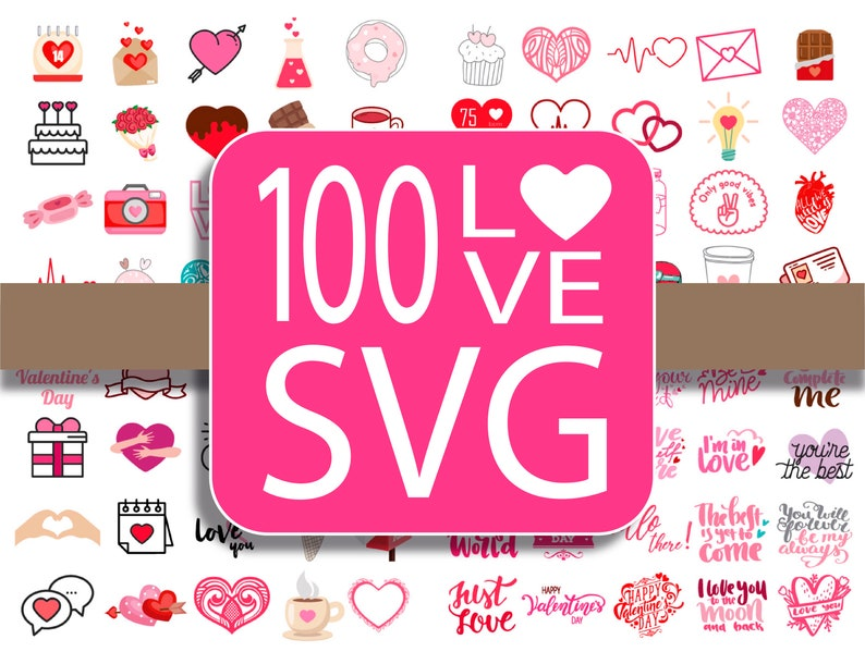 100 Love and hearts SVG image 0