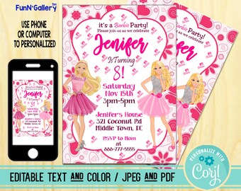 Barbie Invitation Birthday Party Editable TEXT PDF And JPEG FunnyGallery 3