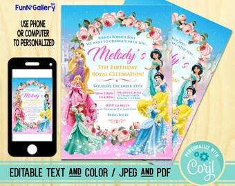 disney princess invitation disney princess birthday invitation disney princess party invitation editable pdf and jpeg funnygallery 10