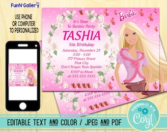 Barbie Invitation Birthday Party Editable TEXT PDF And JPEG FunnyGallery 1