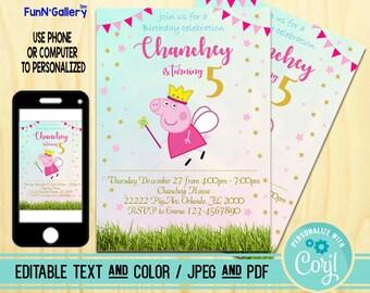 Peppa Pig Invitation Instant Download Etsy