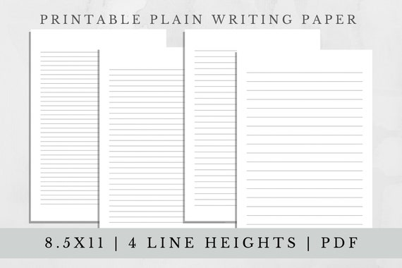 Set of 4-Plain Lined Letter Writing Paper 8.5 x 11 in US