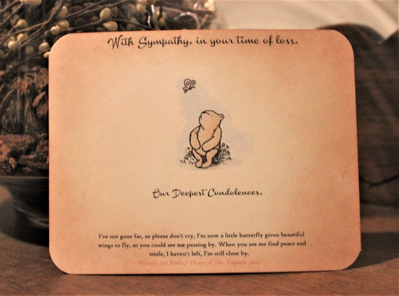 Sorry For Loss Of Your Dog Sympathy Card Winnie The Pooh Smallest Things Quote