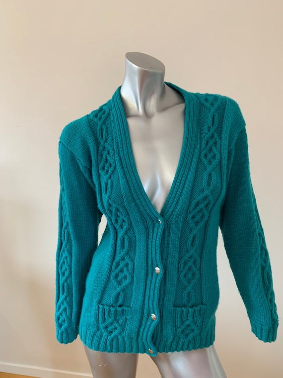 Turquoise hand knitted cable knit wool cardigan