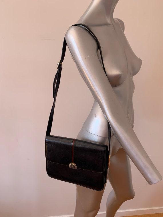 Black Italian leather cross body bag