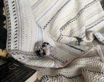 Cream cotton crochet throw