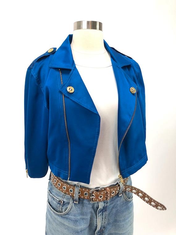 Bight blue crop jacket
