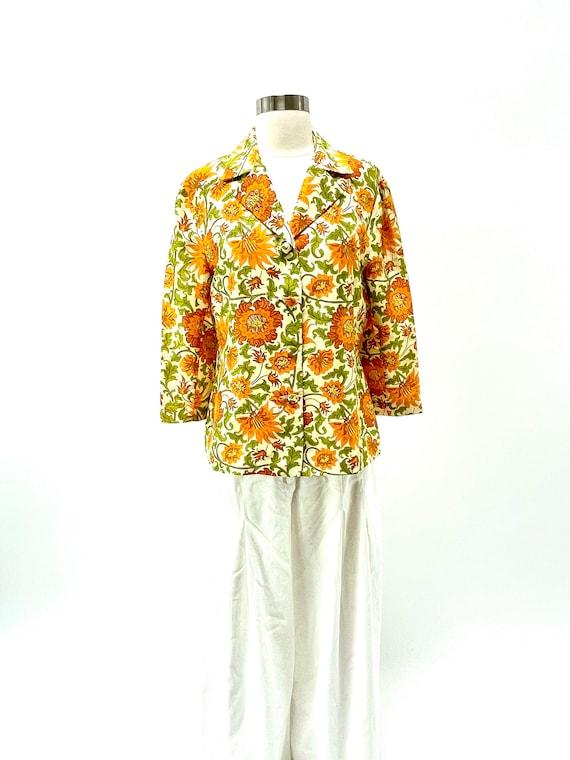 Silk floral blouse.