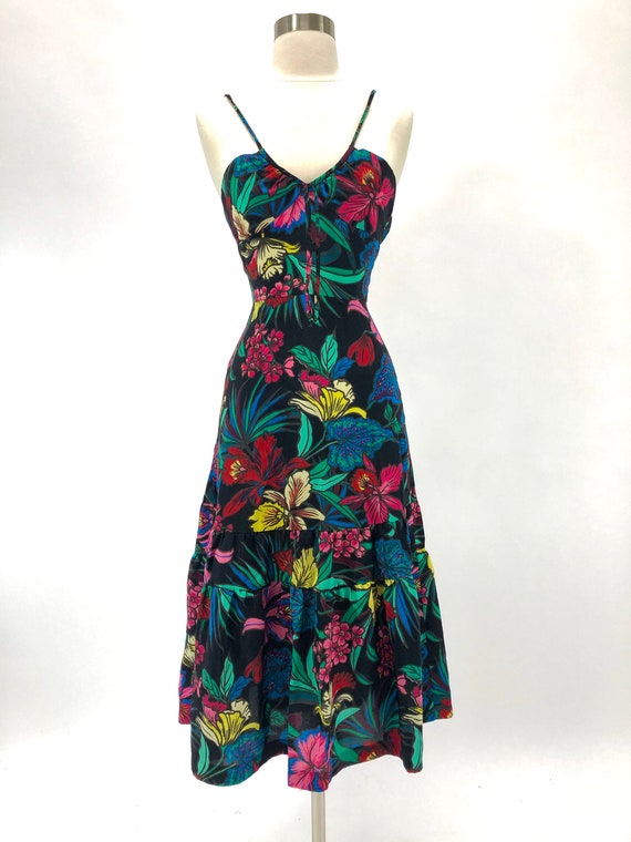 Bright floral tiered sun dress