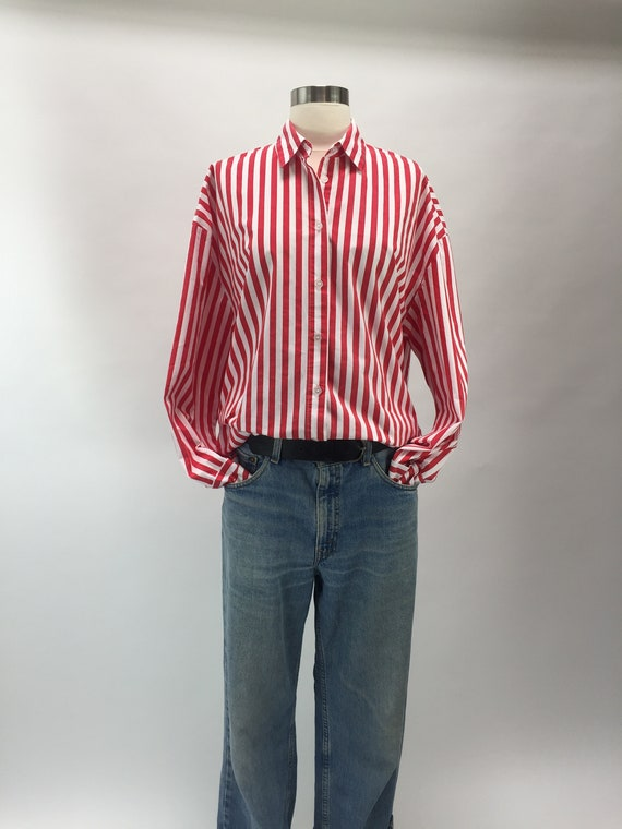 Red/White stripe cotton shirt