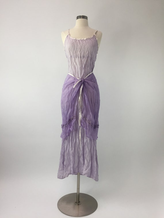Lilac silk  slip dress with skirt wrap
