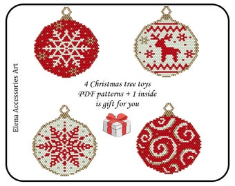 Christmas tree beaded toys set for decoration PDF patterns for miyuki delica seed beads #313-317