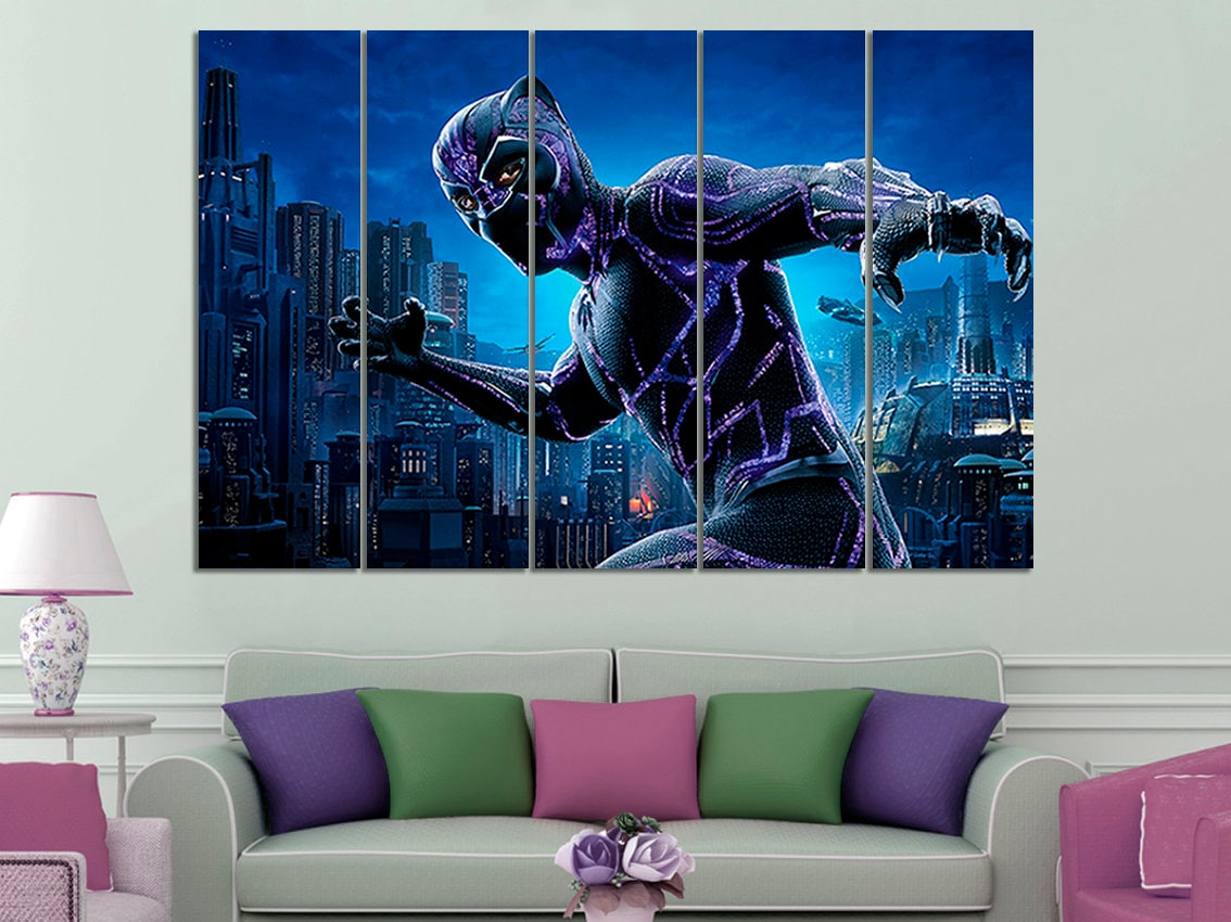 Black panther canvas black panther wall art black panther wall decor superhero wall art black panther print black panther kids room wall art