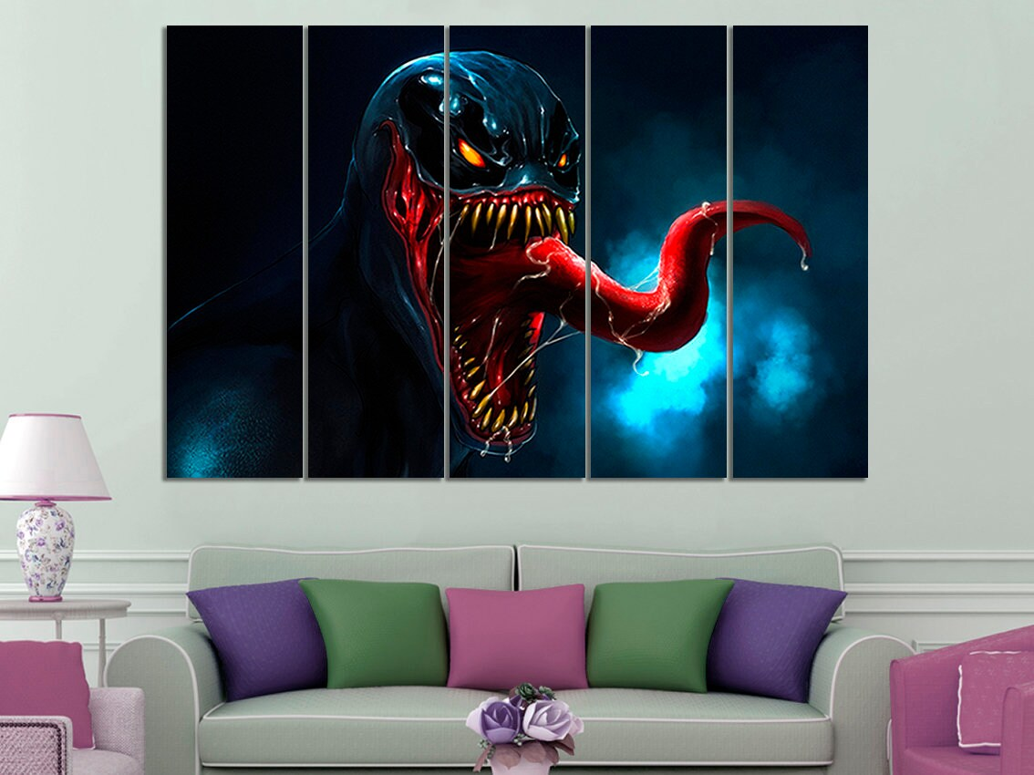 Venom venom canvas venom canvas art venom wall art venom wall decor superhero wall art venom print venom photo kids room kids room wall art