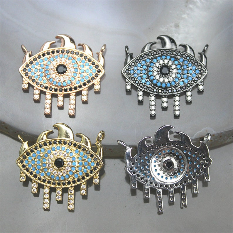 5-20pcs Colorful cz connector charm,cz eye shape charm connector,plated cz jewelry component connector,fashion cz jewelry