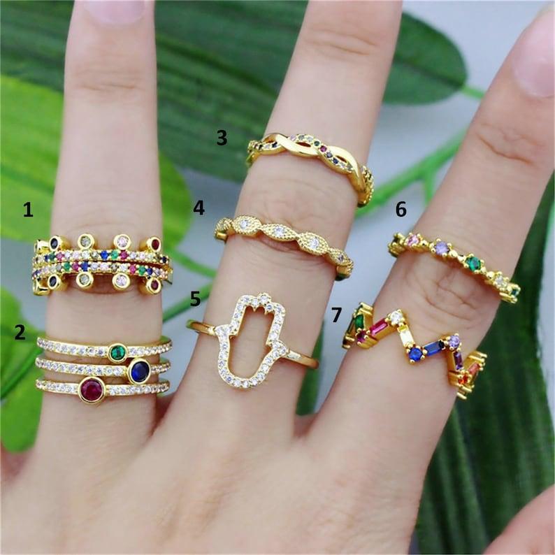 2pcs New design rainbow cz micro pave ring,fashion colorful zircon inlay plating ring,good quality cz jewelry,popular cz ring