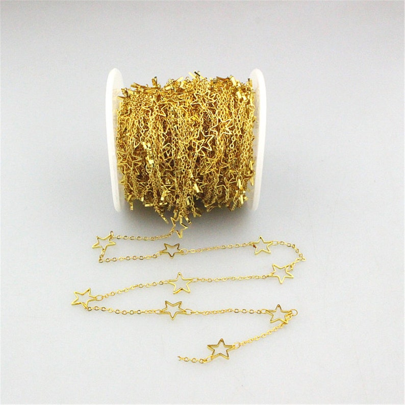 3-10Meters per roll star shape charm chains,plating star shape charm jewelry chains,handmade diy fashion jewelry component chain