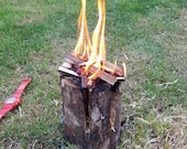 EXTRA LARGE Swedish Canadian Candle Fire Log Torch, Outdoor Living Nature Lover Camping Burner, Summer Camp Fire BBQ, Social Gathering Party