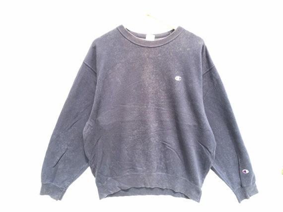 Distressed Bleached Champion Sweatshirt Brown Size