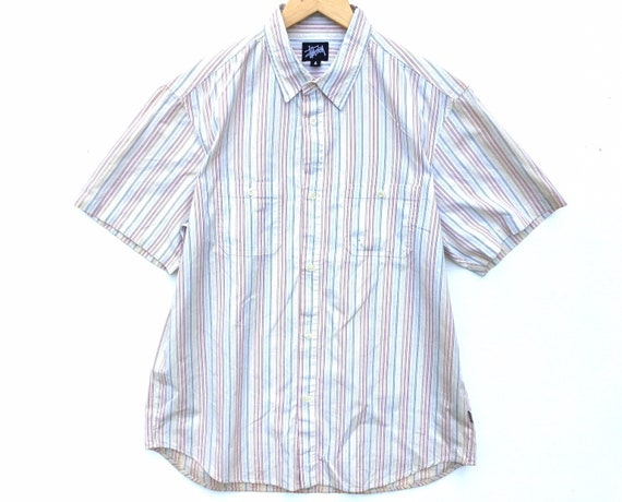 Vintage Stussy Shirt Button Down Size Large, Strip