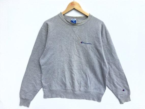 Grey Distressed Champion Script Sweatshirt, Champi