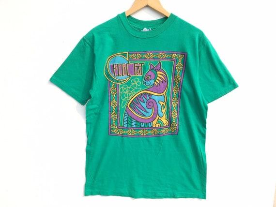 80s Hanes Celtic Cat Vintage Shirt Size Large, 80s