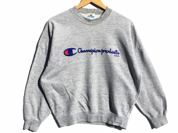 Vintage Champion Big Logo Sweatshirt Gray Sweatshi