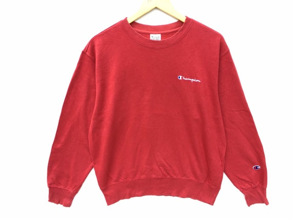 Red Champion Vintage Sweatshirt Size Medium, Red … - image 1
