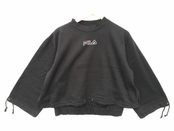 Vintaga Fila Sweatshirt Black Size Medium, Fila Ju