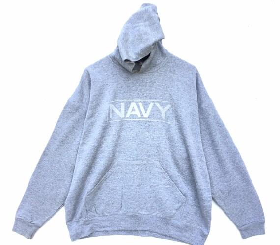 90s Vintage Navy Hoodie Grey Size XL, 90s Hoodie,