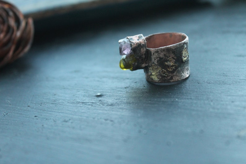 ring artisan ring Amethyst and quartz ring copper ring amethyst crystal artisan jewerly mix metal copper and brass copper gift