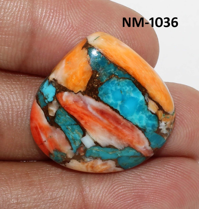 24x24x5 MM-NM-1036 Attractive Spiny Oyster Copper Turquoise Cabochon\u2022AAA Quality\u2022Loose Designer Turquoise\u2022Jewelry Making\u2022 23.85 Cts
